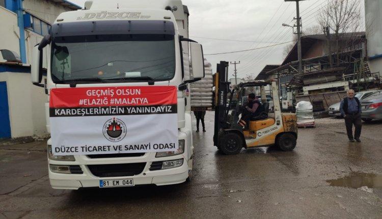 DÜZCE TSO YARDIM TIRINI ELAZIĞ'A UĞURLANDI
